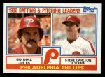 1983 Topps #229  Phillies Team Leaders  -  Bo Diaz / Steve Carlton Front Thumbnail