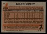 1983 Topps #73   Allen Ripley Back Thumbnail