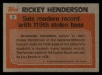 1983 Topps #2  Record Breaker  -  Rickey Henderson Back Thumbnail