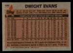 1983 Topps #135   Dwight Evans Back Thumbnail