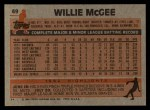 1983 Topps #49   Willie McGee Back Thumbnail