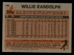 1983 Topps #140   Willie Randolph Back Thumbnail
