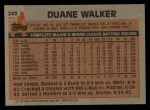1983 Topps #243  Duane Walker  Back Thumbnail
