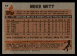 1983 Topps #53   Mike Witt Back Thumbnail