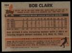 1983 Topps #184   Bob Clark Back Thumbnail