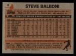 1983 Topps #8   Steve Balboni Back Thumbnail