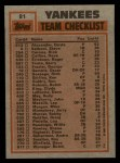 1983 Topps #81  Yankees Leaders  -  Jerry Mumphrey / Dave Righetti Back Thumbnail