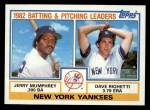 1983 Topps #81  Yankees Leaders  -  Jerry Mumphrey / Dave Righetti Front Thumbnail