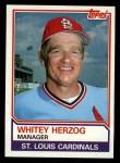 1983 Topps #186   Whitey Herzog Front Thumbnail