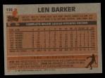 1983 Topps #120  Len Barker  Back Thumbnail