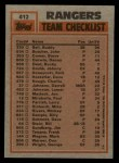 1983 Topps #412  Rangers Team Leaders  -  Buddy Bell / Charlie Hough Back Thumbnail