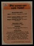1983 Topps #179  Super Veteran  -  Luis Tiant Back Thumbnail