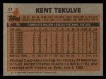 1983 Topps #17  Kent Tekulve  Back Thumbnail
