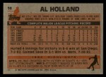 1983 Topps #58  Al Holland  Back Thumbnail