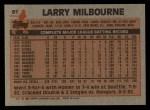 1983 Topps #91  Larry Milbourne  Back Thumbnail