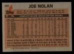 1983 Topps #242   Joe Nolan Back Thumbnail