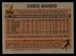 1983 Topps #227  Chris Bando  Back Thumbnail