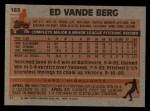 1983 Topps #183   Ed VandeBerg Back Thumbnail