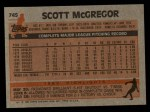 1983 Topps #745  Scott McGregor  Back Thumbnail