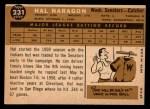 1960 Topps #231   Hal Naragon Back Thumbnail