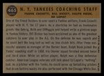 1960 Topps #465   -  Bill Dickey / Ralph Houk / Frank Crosetti / Ed Lopat Yankees Coaches Back Thumbnail