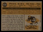1960 Topps #526   Paul Giel Back Thumbnail
