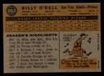 1960 Topps #303   Billy O'Dell Back Thumbnail