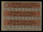 1972 Topps #741   AL - NL Rookie Stars  -  Tom Hutton / Rick Miller / John Milner Back Thumbnail