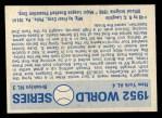 1970 Fleer World Series #49  1952 Yankees vs. Dodgers    -  Johnny Mize  / Duke Snider Back Thumbnail