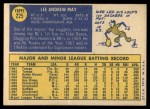 1970 Topps #225   Lee May Back Thumbnail