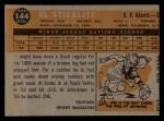 1960 Topps #144  Rookies  -  Al Stieglitz Back Thumbnail