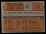 1972 Topps #358   Sparky Anderson Back Thumbnail