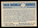 1970 Fleer World Series #25   -  Babe Ruth  / Lou Gehrig 1928 Yankees vs. Cardinals   Back Thumbnail