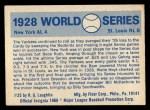 1970 Fleer World Series #25  1928 Yankees vs. Cardinals    -  Babe Ruth  / Lou Gehrig Back Thumbnail