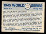 1970 Fleer World Series #42   -  Hank Greenberg 1945 Tigers vs. Cubs   Back Thumbnail