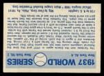 1970 Fleer World Series #34  1937 Yankees vs. Giants    -  Carl Hubbell Back Thumbnail