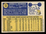 1970 Topps #596   Mike Hershberger Back Thumbnail