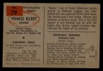 1954 Bowman #79  Frank Kilroy  Back Thumbnail