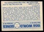 1970 Fleer World Series #53  1956 Yankees vs. Dodgers  Back Thumbnail