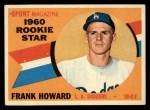1960 Topps #132  Rookies  -  Frank Howard Front Thumbnail
