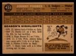 1960 Topps #425  Johnny Podres  Back Thumbnail