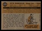 1960 Topps #504   Seth Morehead Back Thumbnail