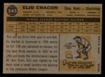 1960 Topps #543  Elio Chacon  Back Thumbnail