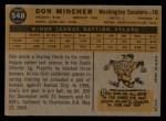 1960 Topps #548   Don Mincher Back Thumbnail