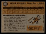 1960 Topps #305  Richie Ashburn  Back Thumbnail