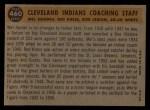 1960 Topps #460  Indians Coaches  -  Mel Harder / Jo Jo White / Bob Lemon / Ralph Kress Back Thumbnail