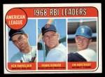 1969 Topps #3   -  Ken Harrelson / Frank Howard / Jim Northrup AL RBI Leaders   Front Thumbnail