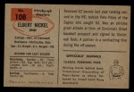 1954 Bowman #108   Elbert Nickel Back Thumbnail