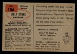 1954 Bowman #106   Billy Stone Back Thumbnail