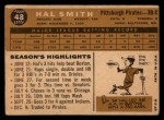 1960 Topps #48   Hal W. Smith Back Thumbnail